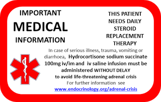 Medical Steroid Card. Adrenal Insufficiency or Crisis.