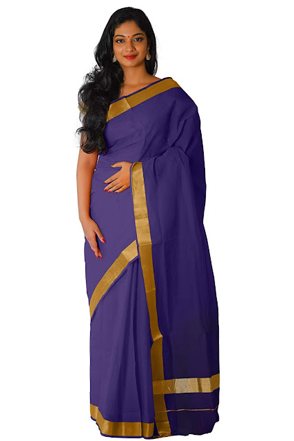 Southloom Kerala Traditional Purple Colour Kasavu Saree