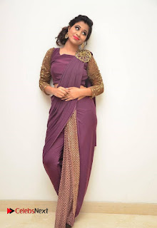 Actress Mi Rathod Stills in Purple Saree at Femmis Club Fashion Show  0008