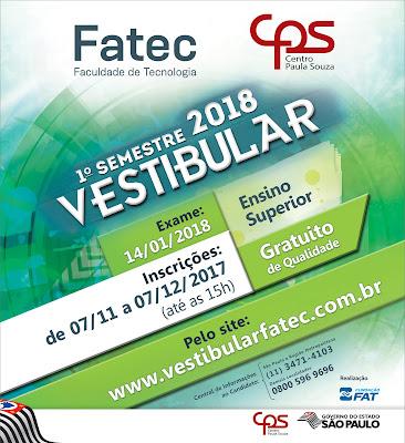 VESTIBULAR FATEC 1° SEMESTRE 2018
