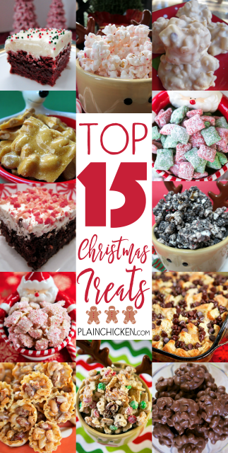 Top 15 Christmas Treats - 15 sweet treats that are perfect for the holidays! Great for parties and homemade gifts.