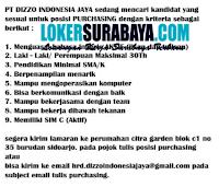 Karir Surabaya di PT. Dizzo Indonesia Jaya Juli 2020
