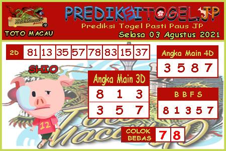 Prediksi Togel Toto Macau JP Selasa 03 Agustus 2021