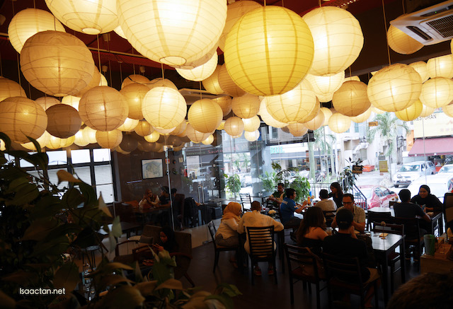 Interesting interior of Meteora Cafe with the hanging lanterns