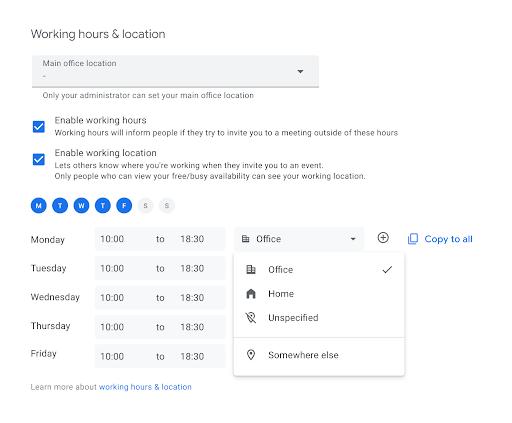 Configuración en Calendario para seleccionar las ubicaciones de trabajo según los días y horarios
