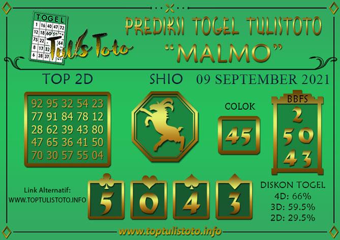 Prediksi Togel MALMO TULISTOTO 09 SEPTEMBER 2021
