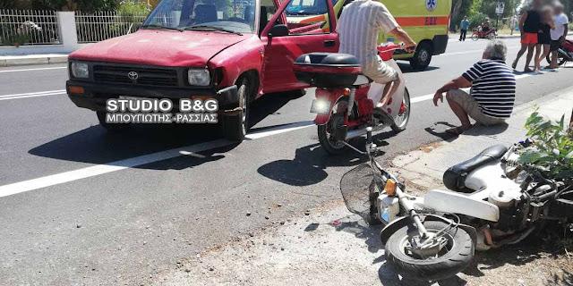 Σύγκρουση αυτοκινήτου με μηχανάκι στη Νέα Κίο Αργολίδας με τραυματία