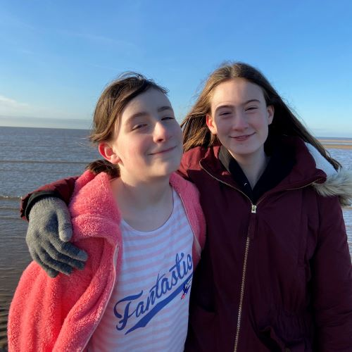 Steph's Two Girls on beach at St.Annes, December 2019