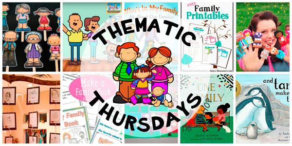 Recopilación de recursos con canciones, cuentos, imprimibles, experimentos, juegos y manualidades sobre la familia, los tipos de familias y los miembros de la familia en inglés.