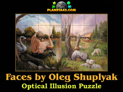 Hidden faces optical illusion puzzle