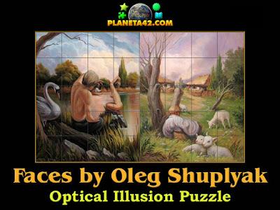 Hidden faces optical illusion puzzle