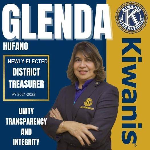 Glenda Hufano is the newly elected Kiwanis District Treasurer, Mario Marasigan as District Governor and Johnny Domino as District Governor Elect