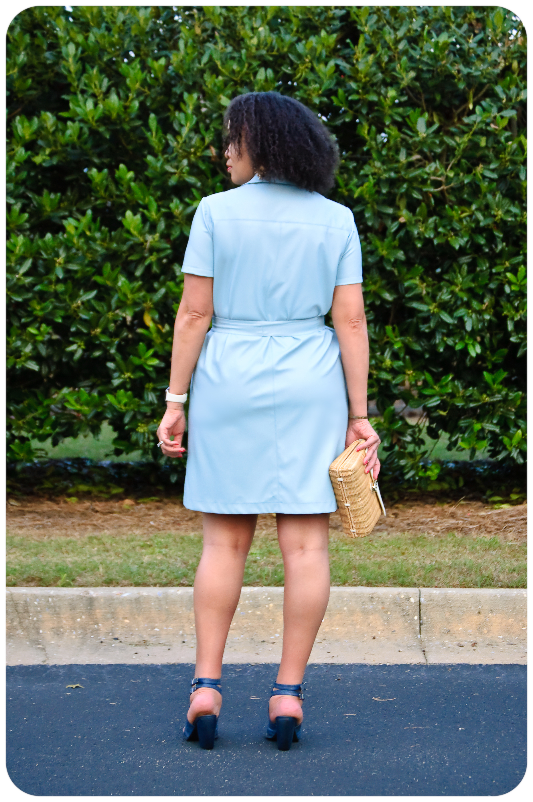 Faux Leather Belted Shirt Dress - Erica Bunker DIY Style!