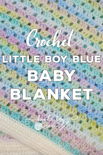 Little Boy Blue Vintage Style Filet Crochet Blanket