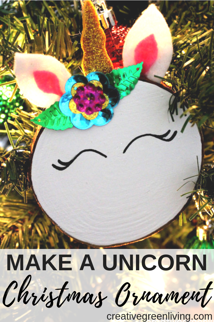 I love these cute unicorn Christmas ornaments! This unicorn craft tutorial is easy to make with felt and glitter foam scaps. No vinyl cutting machine or fancy templates required! Click over to learn how to make these handmade wood slice unicorn ornaments - they're perfect for gifts! #unicorns #unicornstuff #unicorncrafts #christmasornaments #ornaments #woodslice #christmascrafts