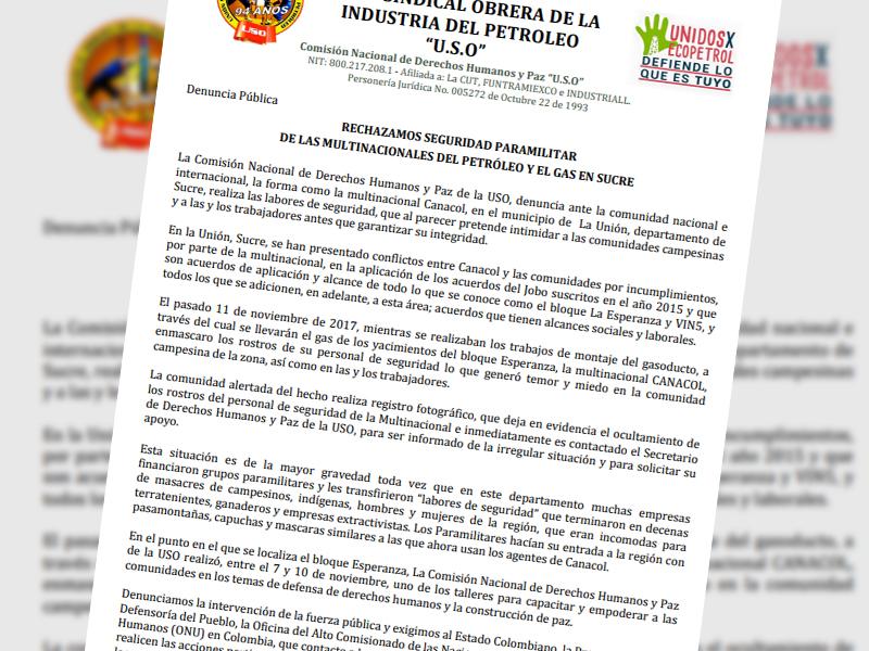 Denuncia Pública: Rechazamos seguridad paramilitar de las multinacionales del petróleo y el gas en sucre