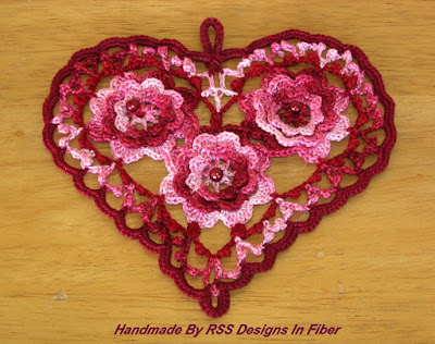 Deep Garnet Red Irish Crochet Heart