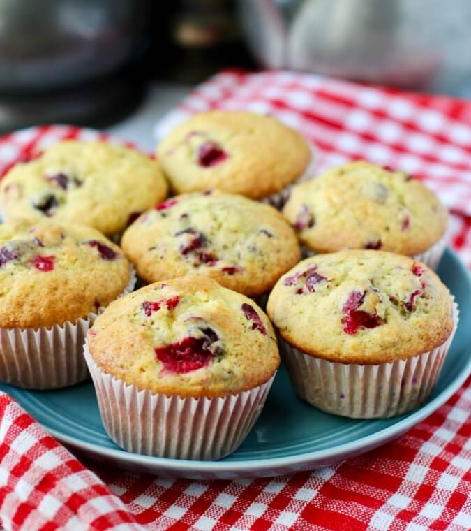 Cranberry orange muffins with gorgeous cranberries