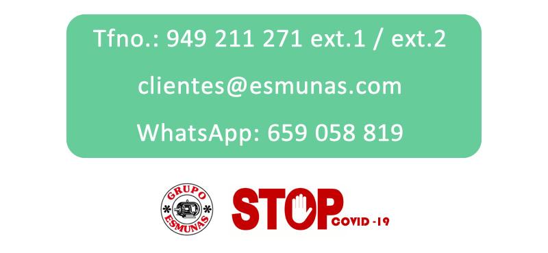 Contacto, teléfono, e-mail para comprar productos desinfección coronavirus o COVID-19 en El Grupo Esmunas, Guadalajara