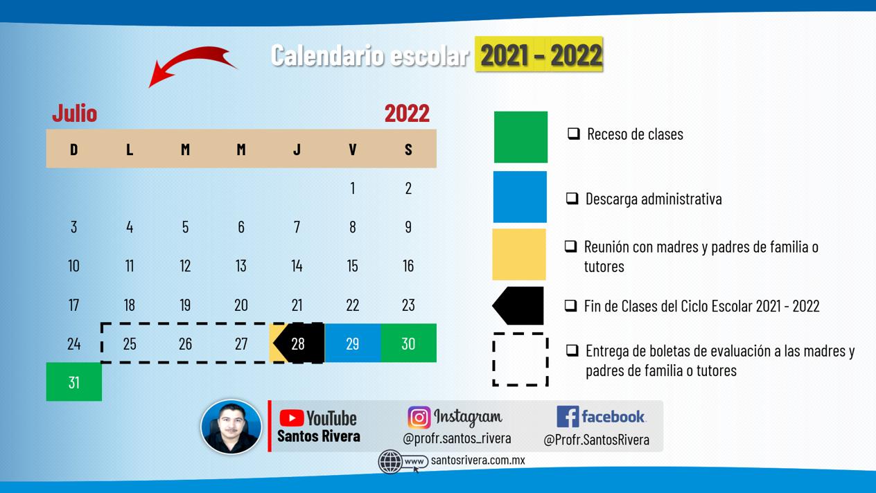 calendario escolar del mes de julio 2021 - 2022