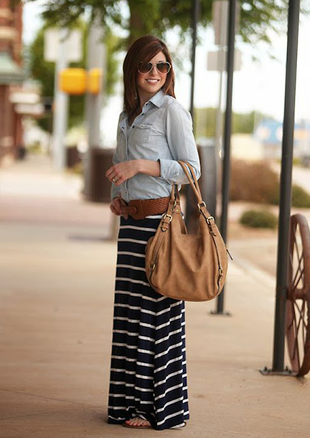 Denim Shirt Looks Amazing With Stripe Skirt