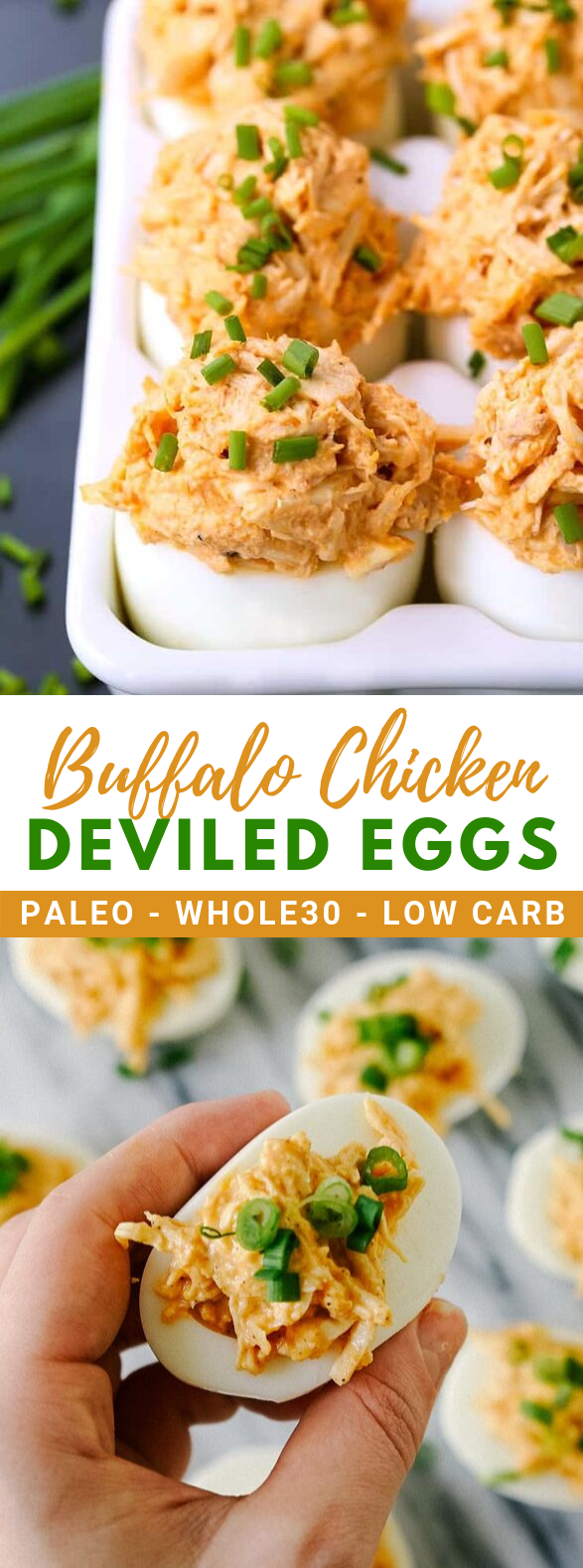 Buffalo Chicken Deviled Eggs #healthy #lowcarb