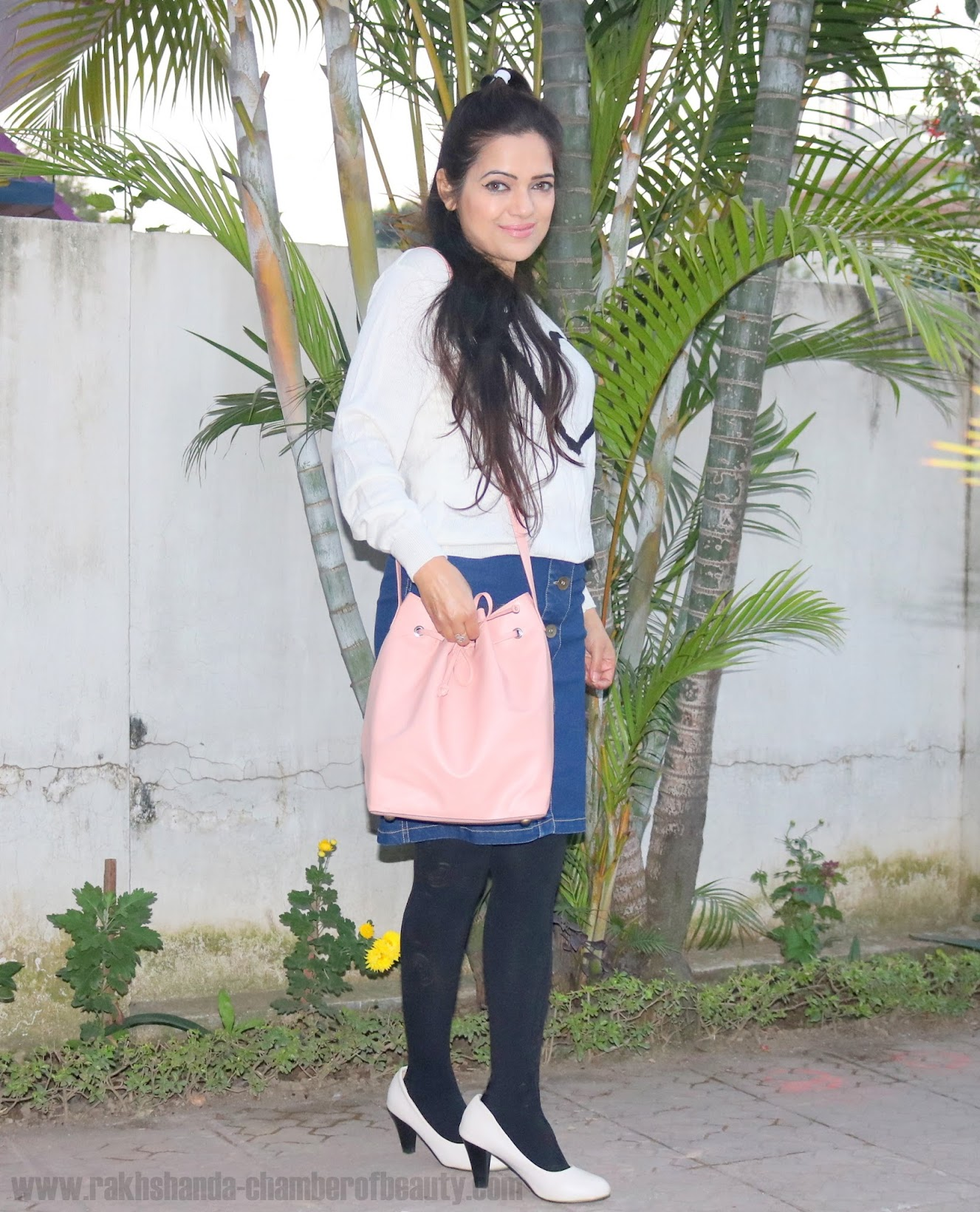 Dziine by Deepa Verma pink bucket bag, denim skirt, Indian fashion blogger, how to style a pastel pink bag,