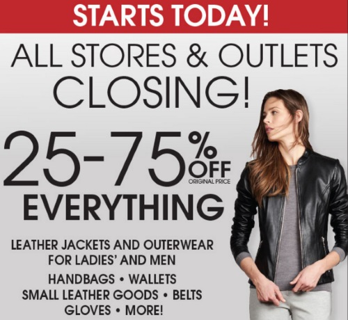 Danier Canada Stores Closing Liquidation Sale 25% to 75% Off Everything