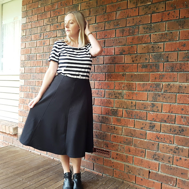 Target skirt and striped tee | Almost Posh
