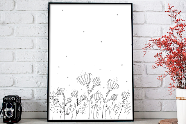 Black Floral Digital Printable Art