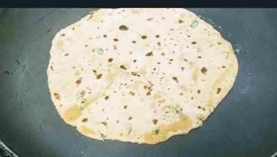 Roasting Methi paratha on Tawa for Methi paratha recipe