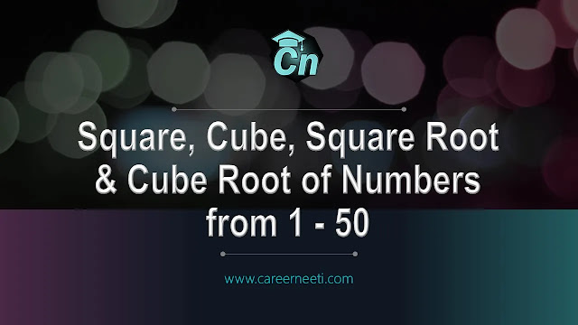 Square Root, Cube Root, Square, and Cube of numbers from 1-50, www.careerneeti.com, careerneeti logo