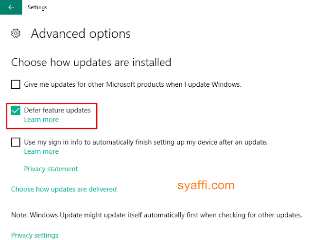 Defer Feature Update Windows 10