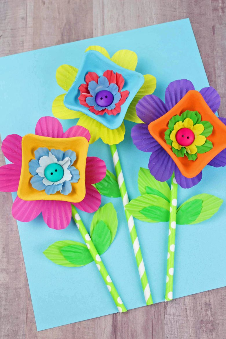 cardboard flower painting craft for kids