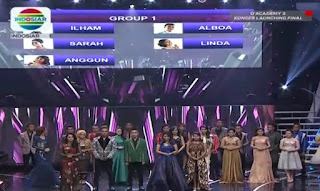 Daftar Peserta Grup 1 Konser Final Babak 25 Besar D'Academy 3 Senin Tanggal 22 Februari 2016