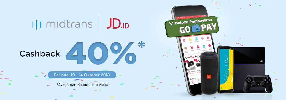 JDID - Promo Cashback 40% Bayar Pakai GOPAY ( s.d 14 Okt 2018)