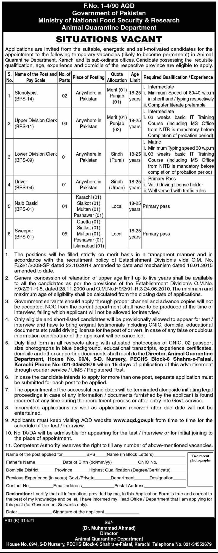 Ministry Of National Food Security & Research Government Of Pakistan Jobs 2021