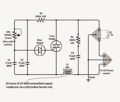 Electronics Projects: Simple Triac Dimmer Circuit