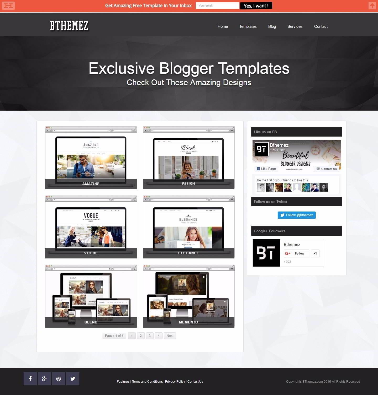 Cuatro sitios web para descargar plantillas gratis para blogger