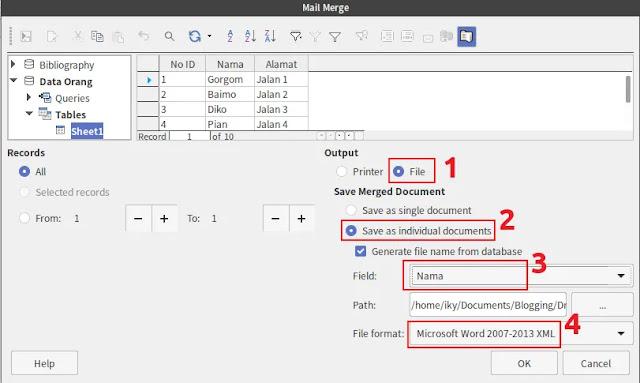 LibreOffice Mail Merge: Individual Dokumen