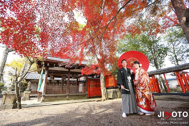奈良公園の紅葉で前撮り撮影