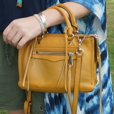 Rebecca Minkoff micro Regan satchel in Harvest Gold with jeanswest Kensley summer tie-dye kimono | awayfromtheblue