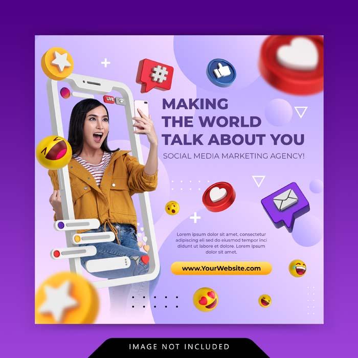 Creative Concept Social Media Instagram Live For Digital Marketing Promotion Template