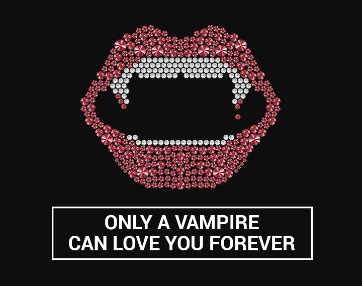This picture shows the silhouette of a vampire mouth with Swarovski crystals.