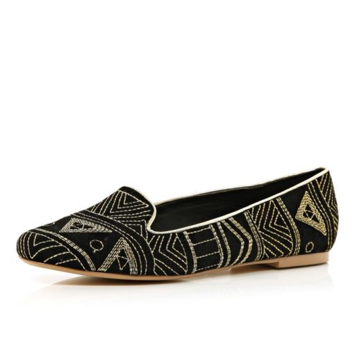 http://www.riverisland.com/women/shoes--boots/pumps--slippers/Black-tribal-embroidered-slipper-shoes-646204