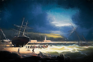 Painting of Whitehaven Quay in 1826 by Robert Salmon