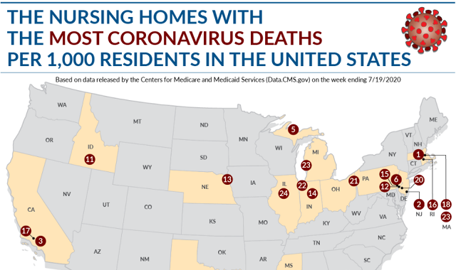 The Nursing Homes With the Most Coronavirus Deaths per 1,000 Residents in the U.S.