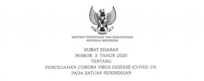 Surat Edaran Pencegahan Virus Corona COVID 19 Pada Satuan Pendidikan