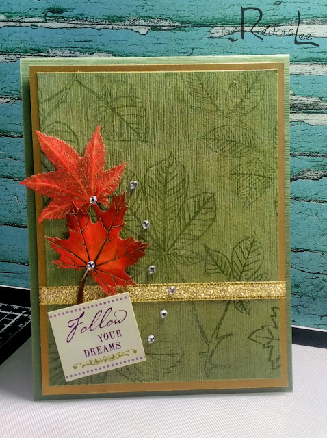 "Stamping with Mica Powders- Perfect Pearls - ""L is For Leaf""- Sisterhood of Snarky Stampers"