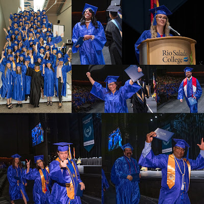 Collage of graduation photos featuring students at May 2 commencement ceremony